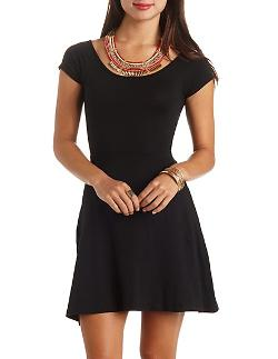 Charlotte Russe - Cap Sleeve Cross-Back Skater Dress