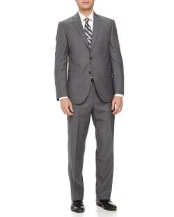Neiman Marcus  - Two-Piece Neat Wool Suit, Light Gray