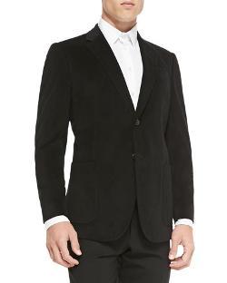 Armani Collezioni   - Grid-Texture Velvet Soft Jacket