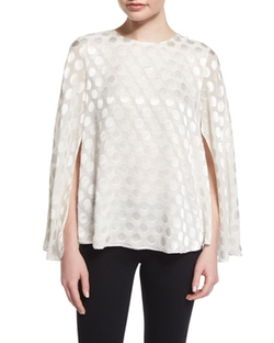 Cushnie Et Ochs  - Jewel-Neck Polka-Dot Cape Blouse