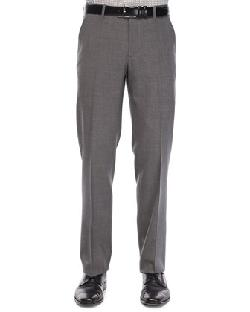 Etro  - Flat-Front Wool Trousers