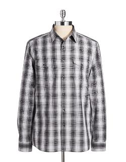 Kenneth Cole New York  - Ombre Plaid Sports Shirt