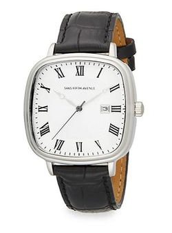Saks Fifth Avenue  - Stainless Steel & Leather Square Dial Watch