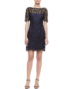 Laundry by Shelli Segal  - Short-Sleeve Lace Sheath Dress