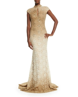Jovani - Cap-Sleeve Sequined Lace Gown