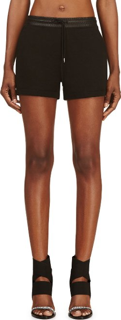 T by Alexander Wang  - Cotton & Leather Shorts