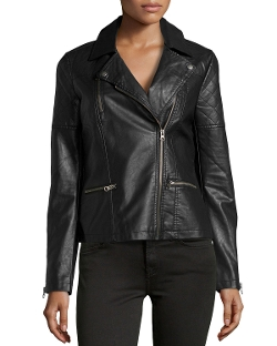 Neiman Marcus - Faux-Leather Quilted-Inset Moto Jacket