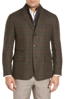 Corneliani  - Classic Fit Plaid Wool & Cashmere Sport Coat