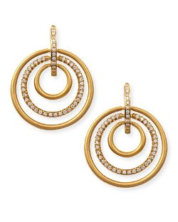 Carelle  - 18k Moderne 3-Ring Pave Diamond Earrings