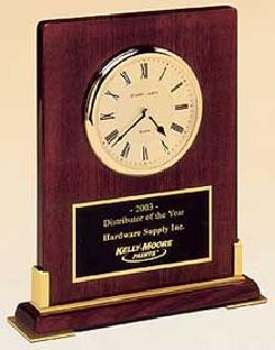 Trophies 2 Go - Rosewood Desk Clock Plaque
