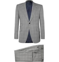 Huntsman - Grey Prince Of Wales Check Wool Suit