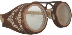 Headchange - USA Leather Frame Round Goggles Burning Man Steampunk