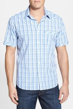 James Campbell  - Astros Plaid Regular Fit Short Sleeve Sport Shirt