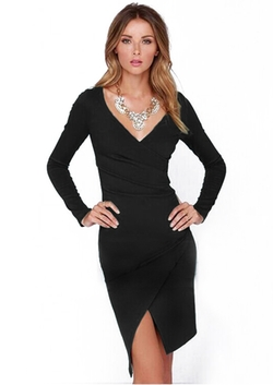 Romwe - V Neck Asymmetrical Pencil Dress