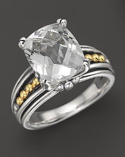 Lagos  - 18K Gold and Sterling Silver Prism White Topaz Ring