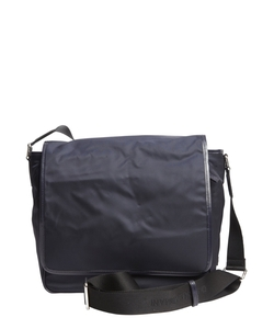 Giorgio Armani - Navy Patent Leather Trimmed Nylon Messenger Bag