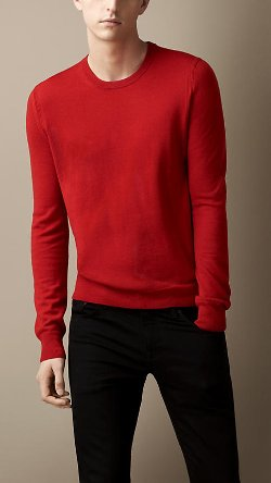 Burberry - Check Elbow Patch Crew Neck Sweater