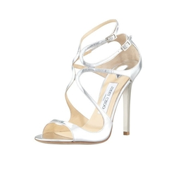 Jimmy Choo  - Lang Metallic Strappy Sandals