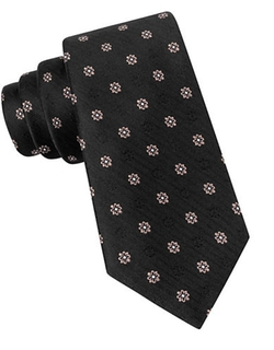 Black Brown 1826  - Silk Herringbone Floral Embroidered Tie