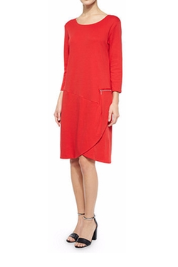 Joan Vass - 3/4-Sleeve Shift Dress W/ Zipper Detail
