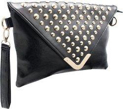 Femina - Studded Oversized Envelope Clutch Handbag with Wristlet