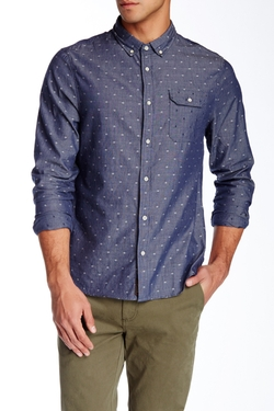 Jachs - Dot Print Long Sleeve Classic Fit Shirt