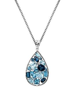 Lord & Taylor - Sterling Silver Multi-blue Topaz Pendant