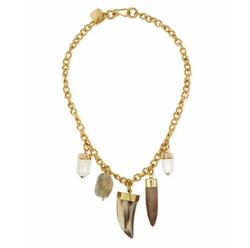 Ashley Pittman - Agua Mixed Charm Horn Necklace