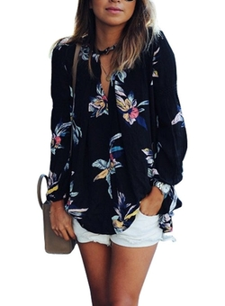 Phoenix  - Casual Floral Print Long Sleeve Blouse