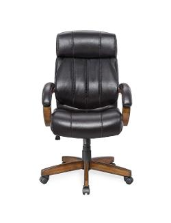 Whalen Furniture  - Breckenridge Wood and Leather Executive Adjustable Lumbar Chair