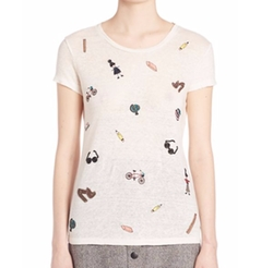 Alice And Olivia - Robin Embellished Linen Tee Shirt