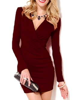 Romwe - Deep V Neck Long Sleeve Bodycon Wine Red Dress