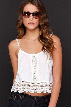 Lush  - Above Ground Ivory Lace Crop Top