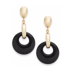Signature Gold - Onyx Disc Drop Earrings