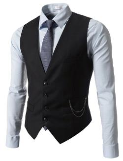 TheLees  - Slim Fit Chain Point 4 Button Waistcoat