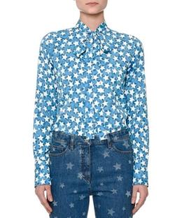 Valentino - Star-Print Tie-Neck Blouse