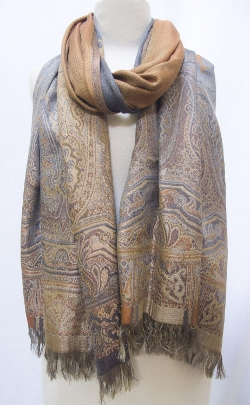 Steel Paisley - Silk Merino Wool Shawl Stole Scarf