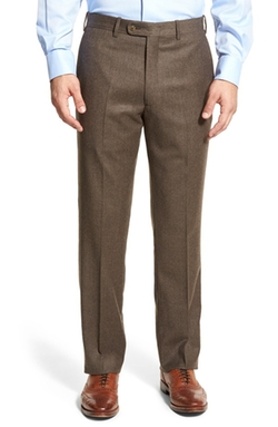 J.B. Britches  - Flat Front Solid Wool & Cashmere Trousers