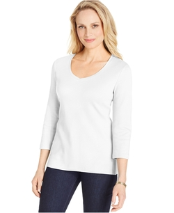 Karen Scott - Three-Quarter Sleeve V-Neck Top