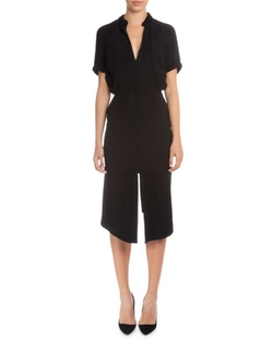 Victoria Beckham  - Short-Sleeve V-Neck Sheath Dress