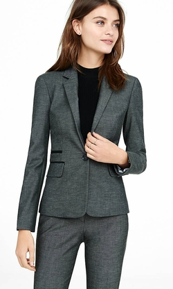 Express - Piped Tweed Blazer