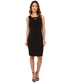 London Times  - Sleeveless Lace Inset V-Neck Sheath