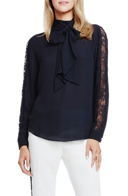 Vince Camuto - Lace Sleeve Tie Neck Blouse