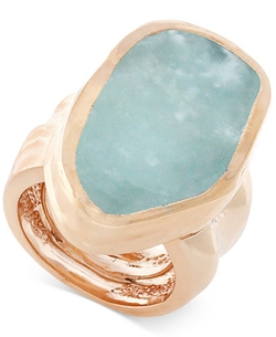 Vince Camuto - Rose Gold-Tone Blue Stone Chunky Statement Ring