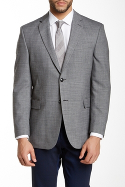 Jim Gray - Sharkskin Two Button Peak Lapel Wool Blend Jacket