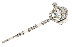 PammyJ Necklace - Silvertone Crown Charm Hair Pin