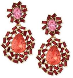 Oscar de la Renta - Baguette Cluster Crystal Statement Earrings