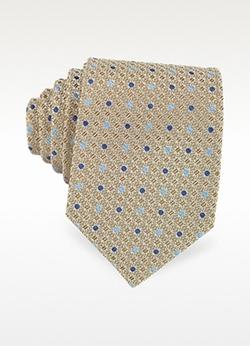 Forzieri  - Bicolor Dots Woven Silk Tie