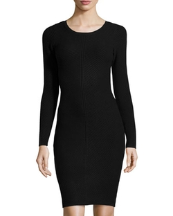 Marc New York by Andrew Marc  - Long-Sleeve Ribbed Sweater Dress
