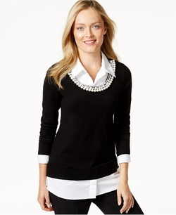 Charter Club - Embellished Layered-Look Top